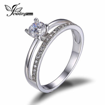 JewelryPalace 0.6ct Cubic Zirconia Anniversary Wedding Band Engagement Ring Set Guard Enhancer Real 925 Sterling Silver Jewelry