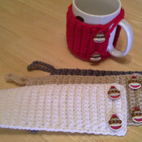 Set of 4 SOCK MONKEY Crochet Mug Cozy, coffee cup cozies, koozie
