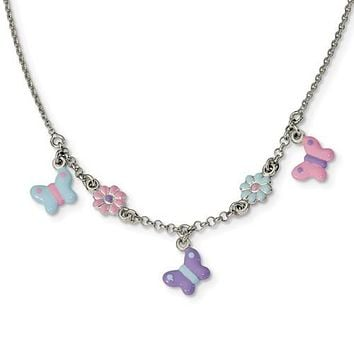 Sterling Silver Children's Enameled Floral & Butterfly Necklace