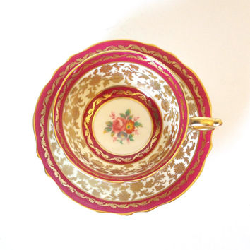 Paragon Fine China Teacup and Saucer Burgundy and Gold England Circa 1940's By Appointment to Her Majesty Queen Mary