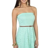 strapless all over embroidered lace belted high low dress - debshops.com