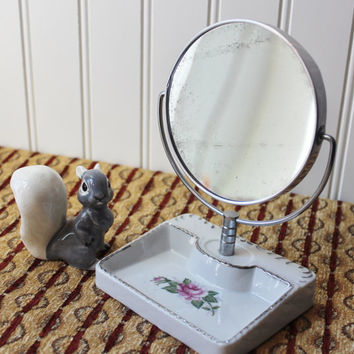 Small Vanity Make Up Mirror Ceramic Base Vintage