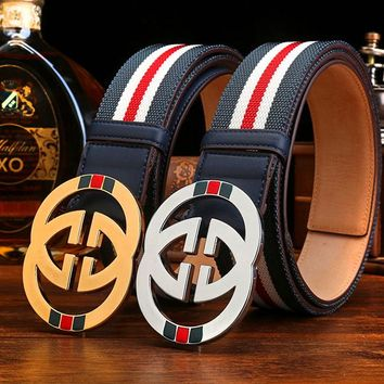 GUCCI hot knitting color contrast gray red belt fashion casual belt for men and women
