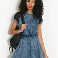Neon Rose Denim Skater Dress | BANK Fashion