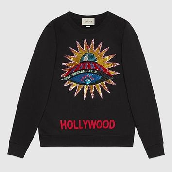 "Hot Sale ""GUCCI"" Popular Women Leisure Letter Embroidery Long Sleeve Cotton Sweater Top Sweatshirt Black"