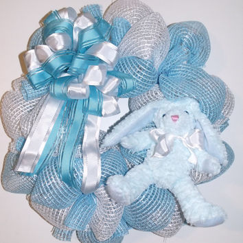 Blue and White Web Deco Mesh Wreath