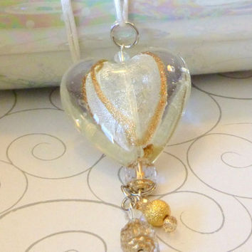 Huge Foil Lined Heart Necklace with Dangling Swarovski Crystal & Glass Tassels. White. Gold. Silver. Puffed Heart Jewelry. Jewelry Sale