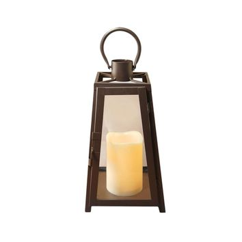 Metal Lantern with LED Candle- Warm Black Taper