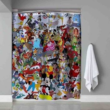 Disney Mickey Mouse Collage All Character Custom Shower Curtain Limited Edition