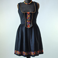 60's German Black Cotton Dirndl Dress with Yellow Trim, Floral Embroidery Size 38