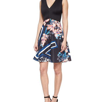 Modern Romance Solid/Printed Dress, Size: