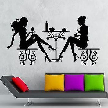 Wall Stickers Cafe Restaurant Women Silhouette Lunch Table Vinyl Decal Unique Gift (ig2421)