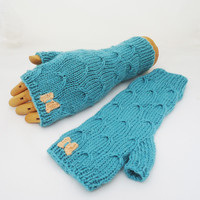 Fingerless Mittens in Blue, Catching Butterfly Fingerless Mittens, Knitted Mitts