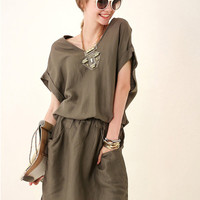 Army Green V-neck Batwing Sleeve Elastic Waist Blouson Mini Dress