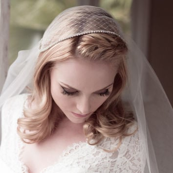 Bridal Juliet Cap Wedding Veil, Bridal Illusion Tulle with Netting and Rhinestones, Fingertip Waltz Chapel Cathedral, Style: Anichia #1208