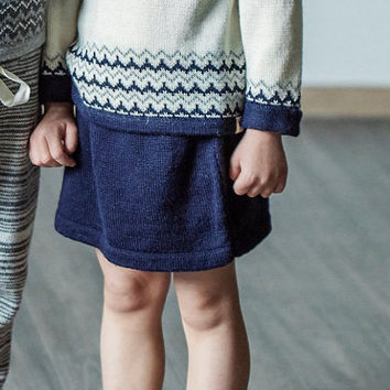 Nordic skirt / knitted baby alpaca skirt / navy knit skirt / winter skirt / knitted wool skirt / gray skirt / blue skirt / wool skirt