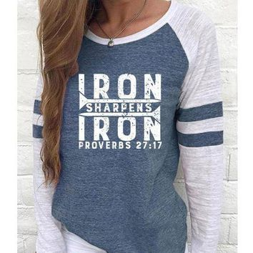 Iron Sharpens Iron Women's Baseball Jersey Christian Semi-Fitted Long Sleeve Shirt