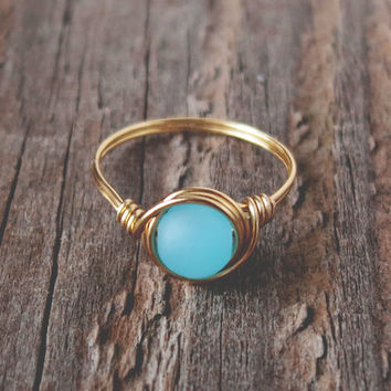 Sea Glass Turquoise Ring - prom rings - 0% factory 100% handmade!