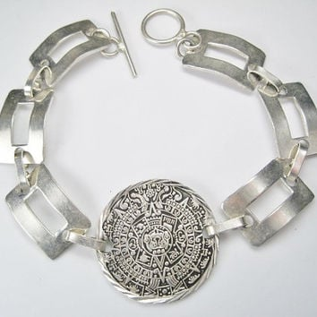 Aztec Mayan Calendar Bracelet Detailed Sterling 9.5 inches