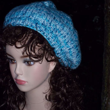 Knit Beret Slouch Hat Women Blue