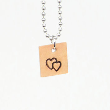 Leather couple pendant necklace with overlapping hearts - Heart pendant necklace boyfriend necklace girlfriend necklace couple jewelry