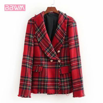 2018 Women's Autumn New Lapel Trimmed Loose Twill Plaid Suit Short Jacket  Scottish small fragrance