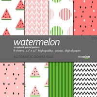 Digital paper pack of 8 sheets Watermelon 108