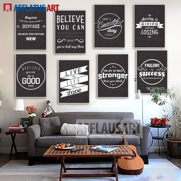AFFLATUS Modern Inspiring Art Painting Poster Print Life Quote On Canvas Black White Wall pictures For Living Room Home Decor