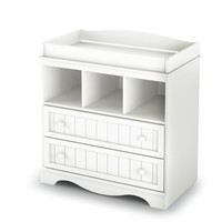 White Wood Baby Diaper Changing Table With 2 Drawers