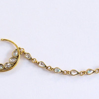 Gold Crystal Bridal Nose Ring Chain Non pierced