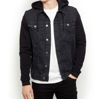 Black Jersey Sleeve Hooded Denim Jacket