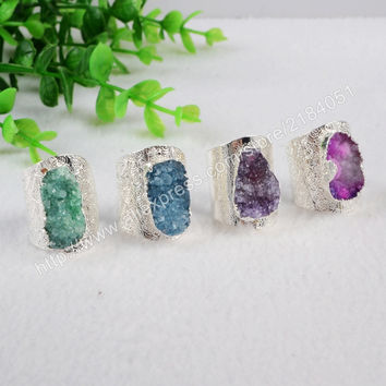 Freeform Druzy Ring Adjustable Dyed Colors Agate Druzy Geode Ring Silver Electroformed Drusy Geode Jewelry