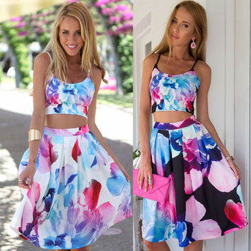 Print Crop Top with A-line Knee Length Skirt Two pieces Dress