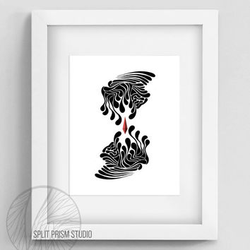 Original Art Print, Download, Printable, Digital File, Wall Art, Black and White, Silhouette, Abstract, Modern, Graphic Print, Modern Art