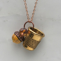 Peter Pan Kiss Necklace Thimble Necklace and Acorn Charm