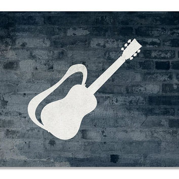 Guitar with Strap Print Wall Art