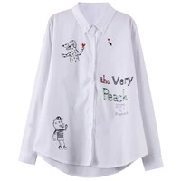 Funny Graffiti Print Button Down Pointed Flat Collar Long Sleeve Blouse