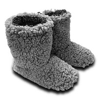 Sherpa Fleece Booties in Grey and Charcoal by Live Oak