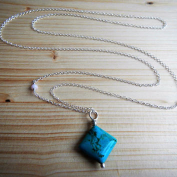 Extra Long Sterling Silver and Natural Turquoise Pendant Necklace, 33 Inch Chain Bohemian Necklace Pink Opal Wire Wrapped Turquoise