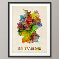 Germany Watercolor Map (Deutschland), Art Print 18x24 inch (431)