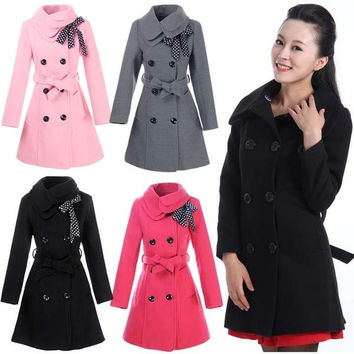 Womens Double Breasted Trench Winter Wool Coat Girl's Long Jacket Coat
