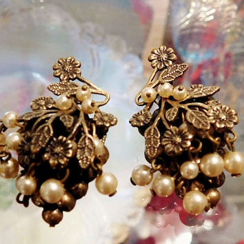 Antique Earrings Screw Back 1930s 30s Brass Filigree and Faux Pearl Earrings Cascading Flowers Floral Artisan Hand Crafted Jewelry