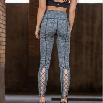 Womens Yoga Pants Active Running Workout Fitness Leggings Dance Pants Cutout Tie Cuff Slim Jogger Workout Tights