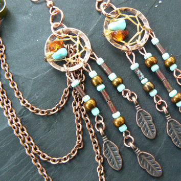 turquoise and copper dreamcatcher chained ear cuff SET turquoise czech beads cuff in boho gypsy hippie hipster and tribal fusion