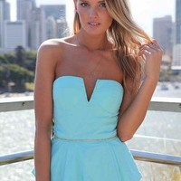 Blue Strapless Asymmetric Peplum Top