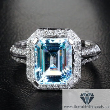 Emerald Cut Aquamarine Engagement or Cocktail Ring Diamond Pave Halo