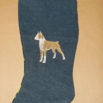 boxer Christmas stocking denim with dog embroidered design