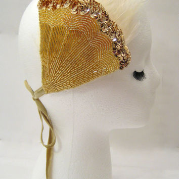 Lady Mary fascinator, white feather headpiece, Gatsby headdress, 20s feather hairband, burlesque hairpiece, gold art deco fascinator ivory