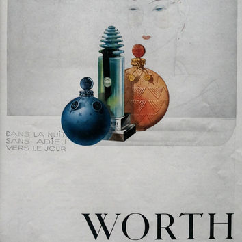 WORTH perfume poster vintage advertising French retro ad perfume advertisement original art deco poster, old magazine ad L'Illustration 1930