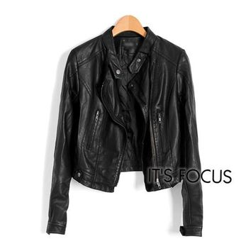 Faux Leather Pockets Zipper Jacket - Black
